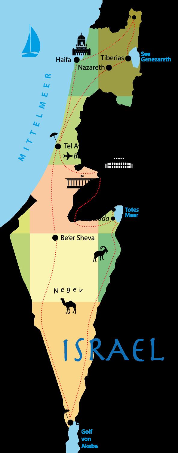 Israel Rundreise Route - Karte