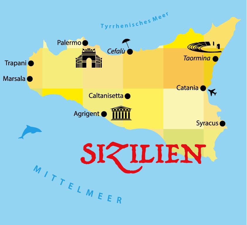 Sizilien Rundreise Tipps - Karte
