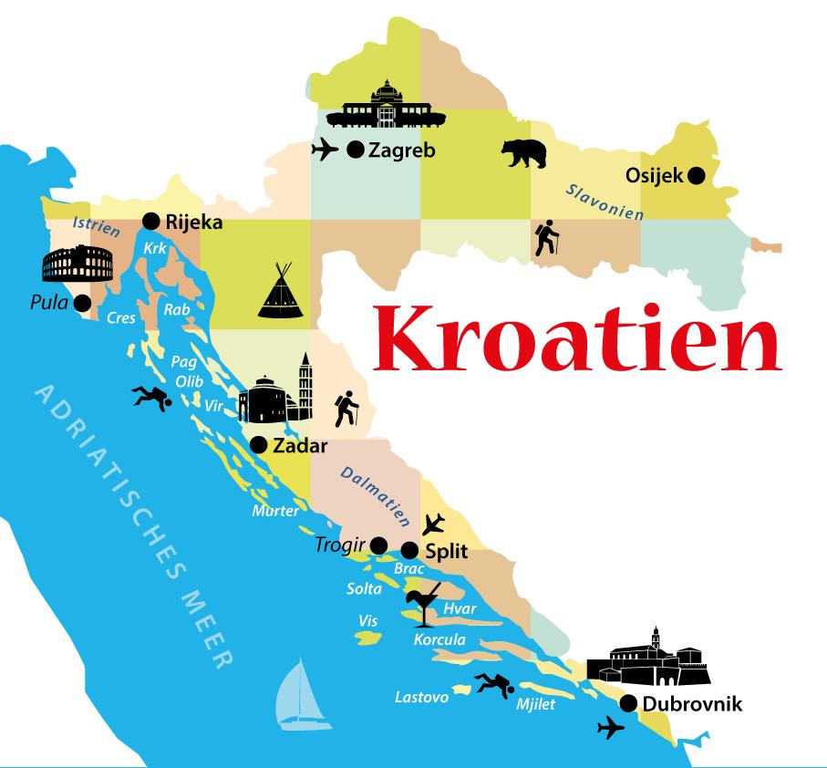 Kroatien Inseln Karte