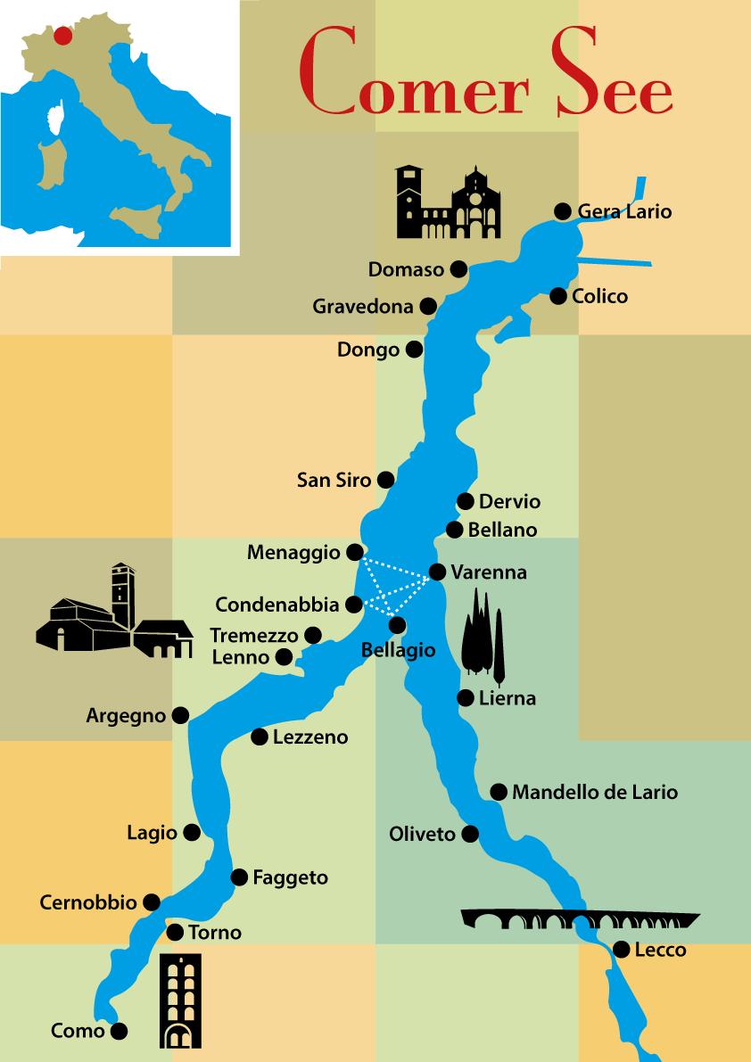 Comer See: Karte Wandern und Sehenswürdigkeiten