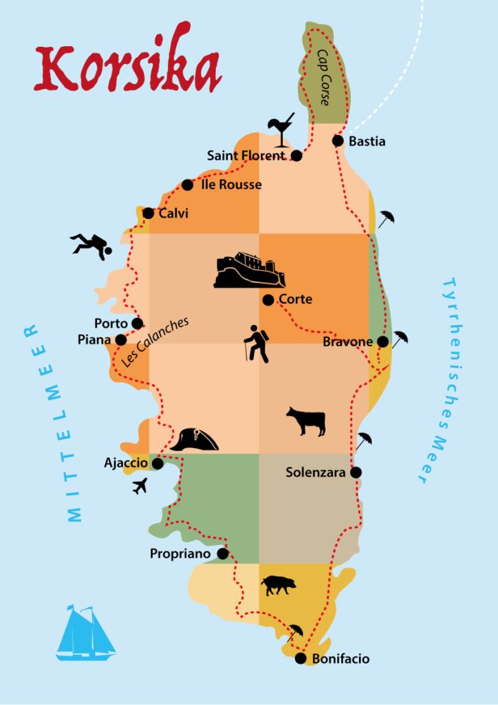 Korsika Karte: Route Rundreise