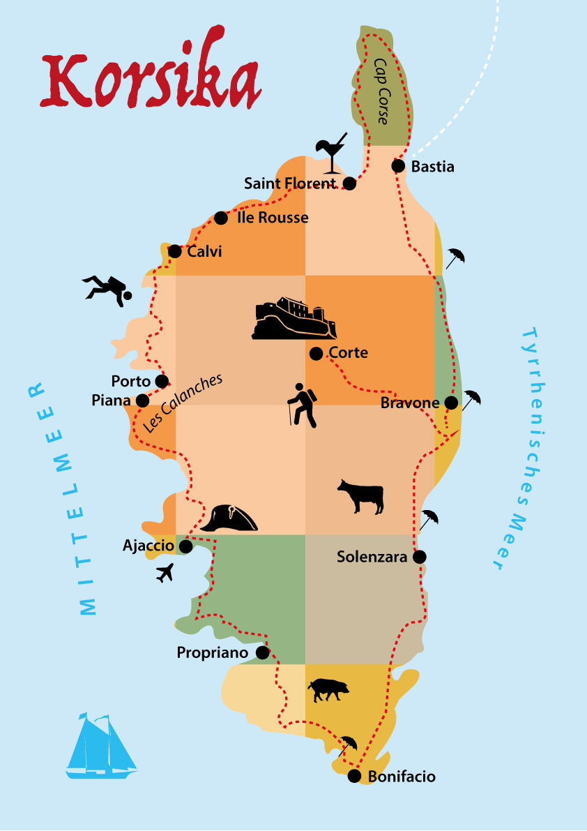 Korsika Reisetipps, Karte: Route Rundreise