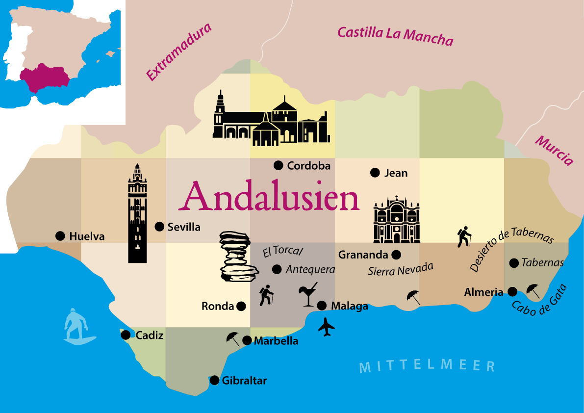 Andalusien Rundreise Tipps: Karte der Route mit allen Highlights